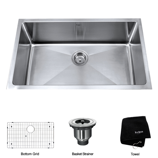 Franke Kitchen Sink Accessories : Kraus 30-inch Undermount Single Bowl Stainless Steel Kitchen Sink ...
