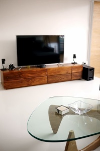 close up of tv console